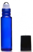10ml Blue Roll-On Glass Bottle with Metal Roller Ball [Case of 144]