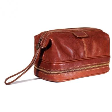 Floto Roma Travel Kit Saddle Brown Leather Dopp Bag