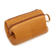 Royce Leather Travel Toiletry Bag in Rugged Colombian Leather, Tan