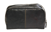 Jack Georges Voyager Leather 2-Zip Toiletry Bag - Black