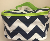Makeup Bag Cosmetic Case Blue Chevron with Green Trim