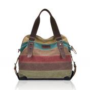 Binmer(TM)Women Stripe Canvas Handbags Shoulder Bags Contrast Colour Crossbody Bags