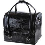 Black Crocodile Print Soft PVC Makeup Train Cosmetic Case
