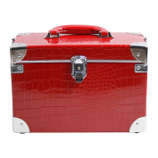 Cosmetic makeup box7 1 stage crocodile pattern Red