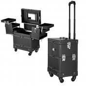 MegaBrand 4-Wheel Rolling Lockable Makeup Train Cosmetic Case Black