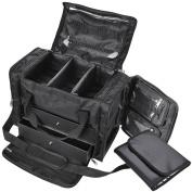 MegaBrand Oxford Fabric Cosmetic Bag Soft Makeup Train Case Black