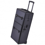GHP Black Rolling Makeup Train Case w 2.8ler Telescoping Drawer Bar