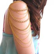 Voberry® Women's Vintage Gold Tassels Arm Harness Slave Chain Upper Cuff Armband Armlet Bracelet