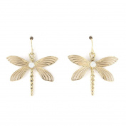 Cute Gold Tone Dragonfly Dangle Drop Earrings