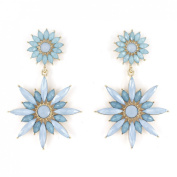 Exquisite Gold Tone Blossom Flower Dangle Post Backings Earrings