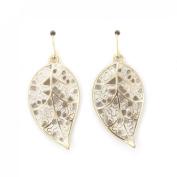 Cute Small Hollow Leaf Dangle Drop Earrings