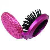 TASIRO 2-in-1 Bling Bling Folding Makeup Mirror with Massaging Hair Brush