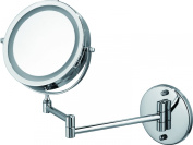 Ovente MFW70CH 18cm Battery Operated LED Lighted Wallmount Vanity Makeup Mirror, 1x/10x Magnification, Polished Chrome