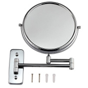 GuRun 20cm double-sided Wall Mount Makeup Mirror with 5x Magnification,Chrome Finish M1407
