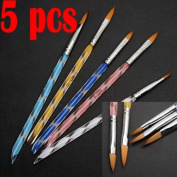 5X New 2 Ways Acrylic Nail Art Brush Pen Cuticle Pusher with Hair Clip and Pink Headband for Girl Women