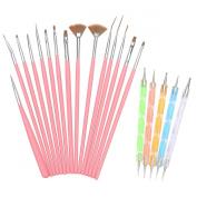 H88 - 15 x Nail Art Painting Dotting Drawing Polish Brush Pen Tools Kit Set Pink
