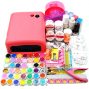 Coscelia Full 36w Uv Gel Lamp Dryer Nail Art Acrylic Powder French Tips Salon Kit