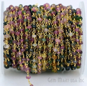 Wholesale One foot Beautiful Tourmaline,3-3.5mm stones wire wrapped with Gold Plated Chain by foot.