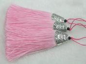 10pcs Pink Silky Handmade (5.6cm ) Soft Fibre Tassels with Antique Silver Cap
