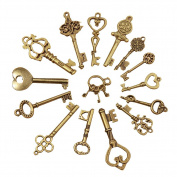 SEADEAR 15 Pcs Mini Vintage Retro Bronze Skeleton Keys Antique Charm Set with Stylus