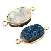 2pcs Natural Druzy Agate Connector Oval Blue 12*16mm Gold Bezel Two Hooks Gemstone Beads Jewellery