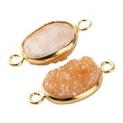 2pcs Natural Druzy Agate Oval Orange 10*14mm Connector Gold Bezel Two Hooks Gemstone Beads