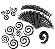CrazyPiercing 54 Pieces Gauges Kit Black Spiral Tapers and Straight Taper with Plugs 14G-00G Stretching Kit - 27 Pairs