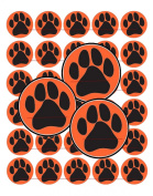 60 Precut 2.5cm BLACK PAW PRINTS with ORANGE BG Bottle Cap Images