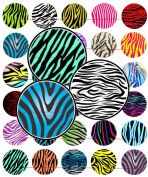 60 PRECUT 2.5cm WILD ANIMAL ZEBRA PRINTS Bottle Cap Images A