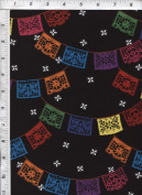 "Robert Kaufman ""Baile Folklorico"" Papel Picado Black Fabric"
