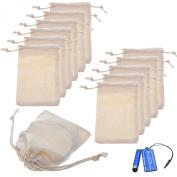BCP Pack of 12pcs 7.6cm x 10cm Double Drawstring Cotton Muslin Bags Reusable Bags Tea Bags Souvenir Gift Bag