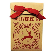 Reindeer Mail Quality Gift Bag with Ribbon Bow - Size 155mm X 103mm