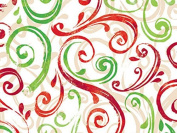 Swirling Red & Green Christmas Gift Wrap Paper - 4.9m Roll