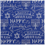 JAM Paper® Holiday Design Wrapping Paper - Blue Happy Hanukkah Design - 1.3sqm - Sold Individually