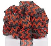 Crochet Fabric With Black And Orange Chevron Pattern - 6.4cm x 20 Yds