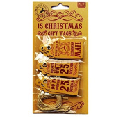 Reindeer Mail Mini Quality Christmas Gift Tags - 15 Tags (3 X 5 Designs) - Size 0.4m X 0.7m