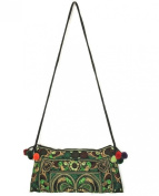 Hmong Bag Hill Tribe Ethnic Embroidered Sling Crossbody Shoulder Handmade Boho Green
