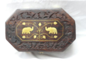 Diwali and Christmas Gift Wooden Handcrafted Octal Shaped 2 Elephant Indian Jewellery Box Brass Inlay Unique Elephant Design