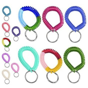 HSS 6pc Coil Stretch Wristband Keychain - Bright Pearlized Colours - Gym, Pool, ID Badege