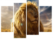 SmartWallArt@ -4 Piece Wall Art Painting A Lion In Rainbow Picture On Canvas Stretched By Wooden frames-For Home Modern Living Room Decor Hang Up Fairly Easily