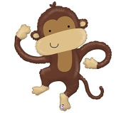 XL 100cm Brown Monkey Linky Shapes Mylar Foil Balloon Party Decoration
