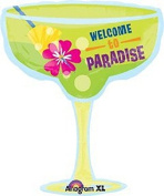 XL 70cm Welcome To Paradise Margarita Super Shape Mylar Foil Balloon Decorations