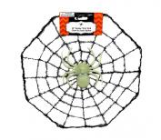 30cm Spider Web with Glow In The Dark Spider Decoration