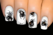 3 Sheets Black Spider Wicked Series Nail Art Stickers Water Transfer Decals