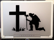 Fireman memories hero remembering the tragedy in front of the cross beautiful silhouette artwork decoration car truck laptop vinyl decal sticker 15cm black