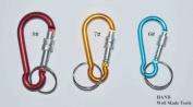 "NO.8 Set of 3 Aluminium Alloy Screw Lock Carabiner Spring Snap Link Hook w/Key Ring- 75mm 3"""