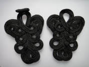 Lyracces 10pair Black Extra Big Size Handmade Sewing Fasteners Chinese Closure Knot Cheongsam Frog Buttons