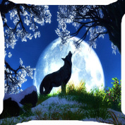 Cushion cover throw pillow case 46cm lone wolf howl moon light mountain tree forest cute night both sides image zipper