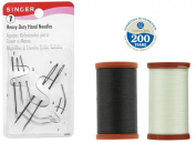 Coats & Clark Extra Strong Upholstery Thread 1 Naturel-white Spool, 1 Black Spool Includes a Set of Heavy Duty Assorted Hand Needles, 7-count