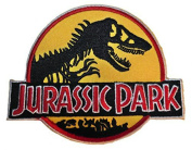 Jurassic Park 7.6cm Yellow Logo Embroidered Iron On/Sewn On Patch with Gift Bag